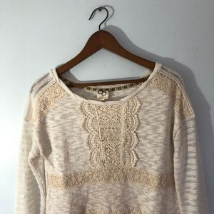 One September Tops - One September Cream Top With Lace Detailing